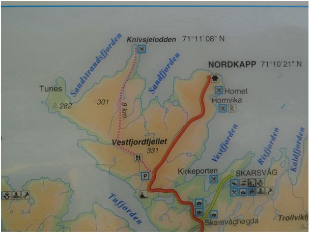 Mapa Nordkapp i Knivskjelodden