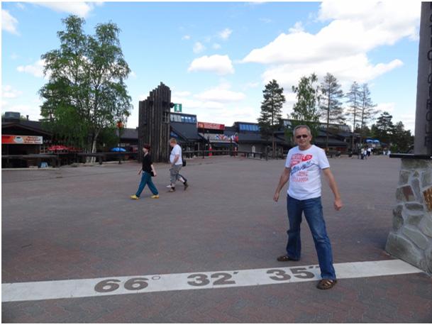 Koło podbiegunowe w wiosce świętego Mikołaja koło Rovaniemi
